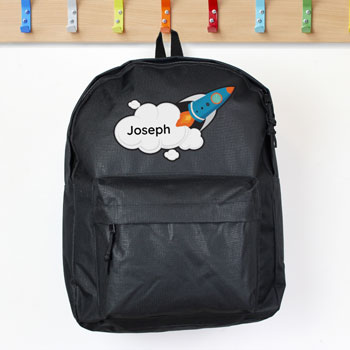 Boy's Personalised Rocket Ship Black School Bag Backpack