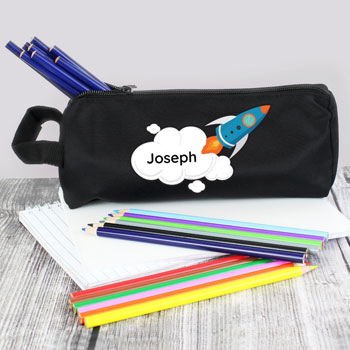 Boy's Black Personalised Rocket Ship School Pencil Case