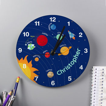 Children's Personalised Solar Sytem Glass Wall Clock