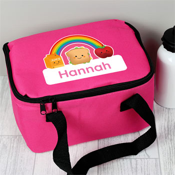 Girl's Personalised Healthy Eating Pink School Lunch Bag