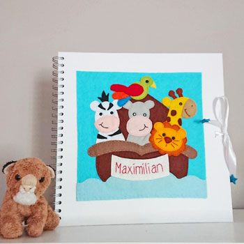 Large Noahs Ark Personalised Felt Baby Photo Album