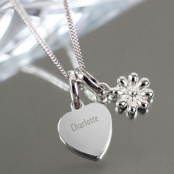 Girl's Personalised Heart and Daisy Sterling Silver Necklace