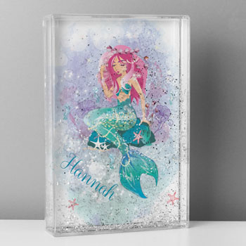 Girl's Personalised Mermaid Glitter Shaker Keepsake Gift