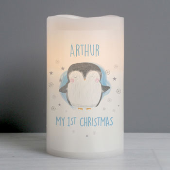 Personalised Baby's 1st Christmas Penguin LED Candle