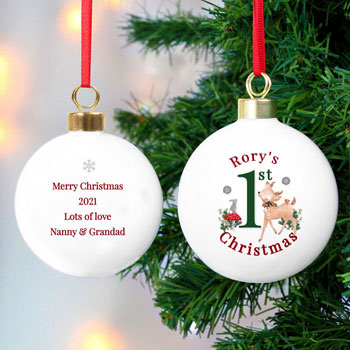 Kids Personalised 1st Christmas Festive Fawn Ceramic Bauble