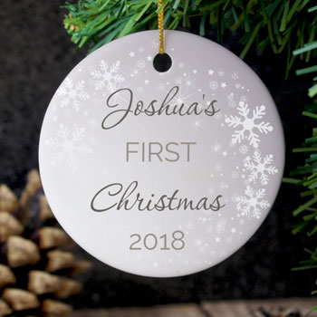 Personalised Baby's 1st Christmas Round Ceramic Decoration