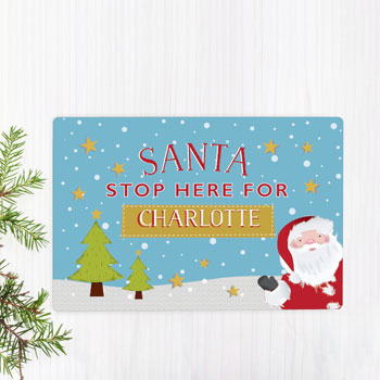 Personalised Santa Stop Here Metal Christmas Sign Decoration