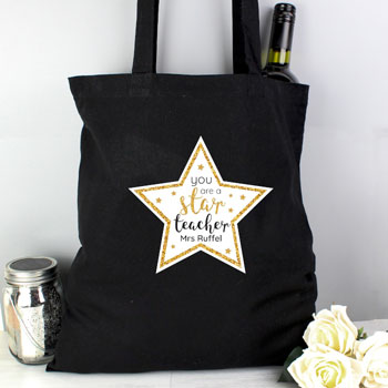 Personalised Star Teacher Black Cotton Bag Thank You Gift