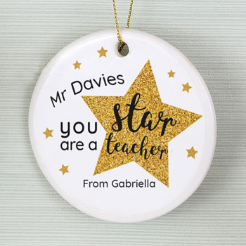 Pesonalised Star Teacher Round Ceramic Tree Decoration