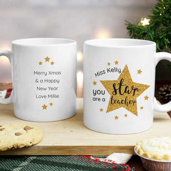 Personalised Star Teacher Ceramic Mug Christmas Gift