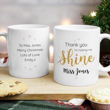 Personalised Shine Teacher Mug Thank You Gift