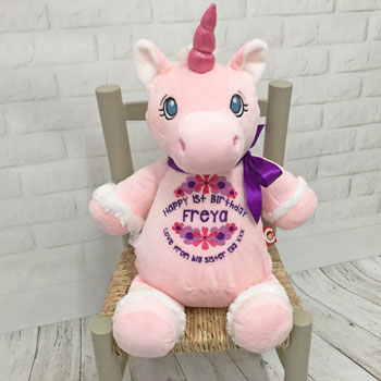 Personalised Embroidered First Birthday Pink Unicorn Toy