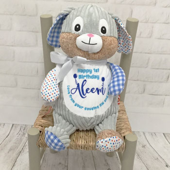 Personalised Embroidered Cubbies Blue Birthday Bunny