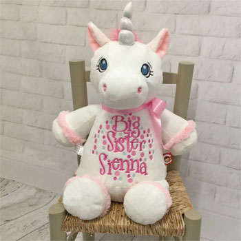 Personalised Big Sister Cubbies White Unicorn Soft Toy Teddy