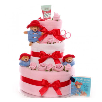 Girl's Luxury Pink Paddington Bear Baby Nappy Cake