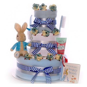 Peter Rabbit Blue Baby Boy's Nappy Cake