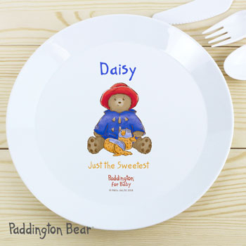 Personalised Paddington Bear For Baby Plastic Plate
