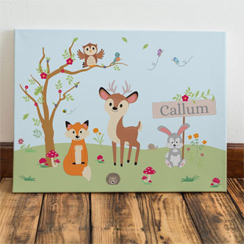 Personalised Woodland Scene Baby Name Canvas