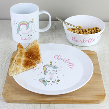 Personalised Bone China Unicorn Girl's Breakfast Set