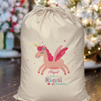 Girl's Personalised Magical Unicorn Christmas Sack
