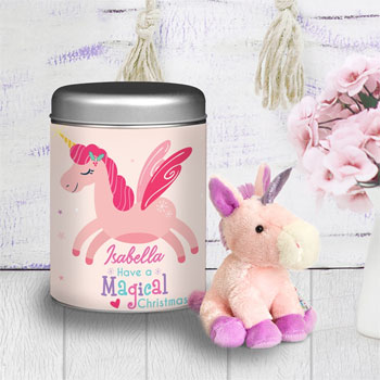 Girl's Magical Christmas Unicorn Teddy in a Personalised Tin