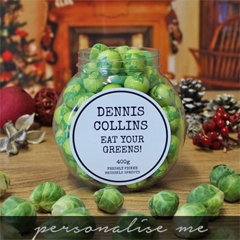 Children's Personalised Jar of Chocolate Brussels Sprouts