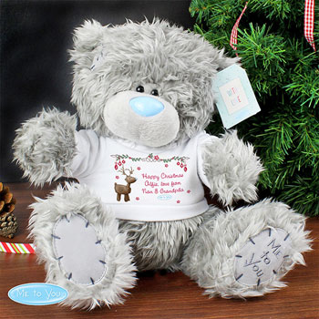 Personalised Tatty Teddy Christmas Bear In Reindeer T Shirt