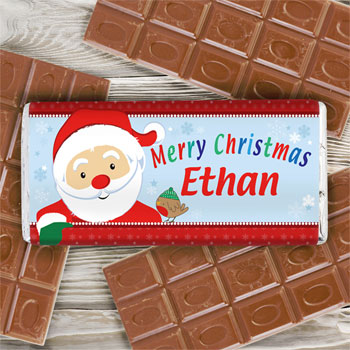 Children's Personalised Santa Milk Chocolate Bar Xmas Gift