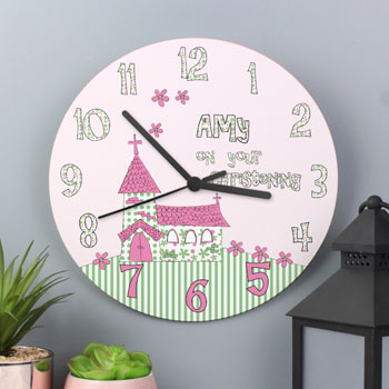 Girl's Large Wooden Personalised Christening Clock