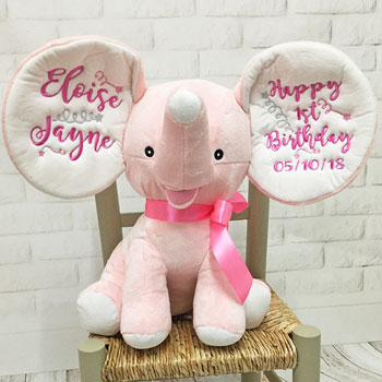Personalised Pink Cubbies Dumble Elephant First Birthday Toy