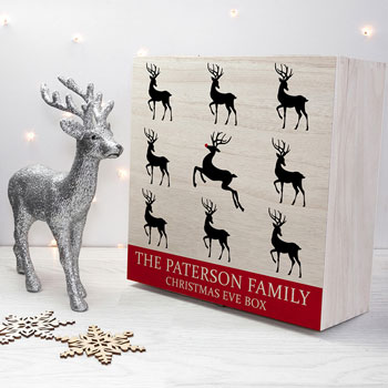 Personalised Wooden Reindeer Family Christmas Eve Box