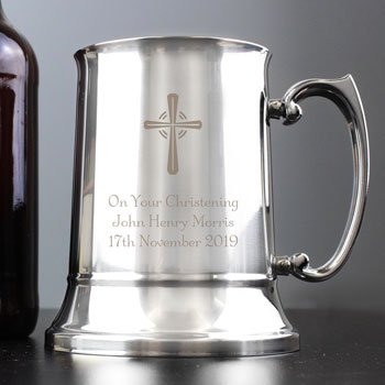 Boys Personalised Engraved Steel Christening Baptism Tankard