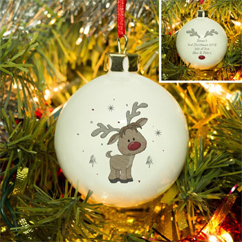 Personalised Little Reindeer Christmas Tree Bauble
