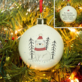 Personalised Christmas Bear Bone China Tree Bauble