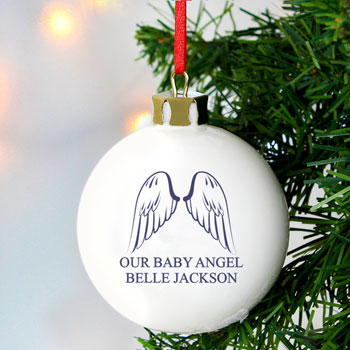 Personalised Angel Wings Memorial Christmas Tree Bauble