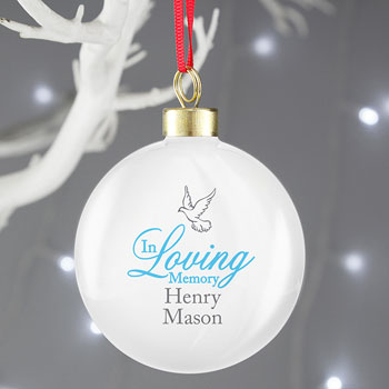 Personalised In Loving Memory Blue Christmas Tree Bauble