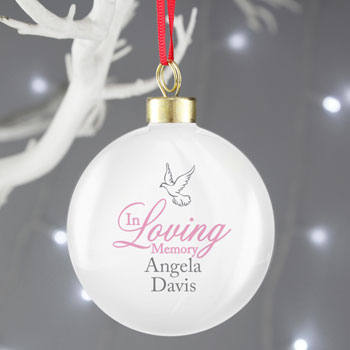 Personalised In Loving Memory Pink Christmas Tree Bauble