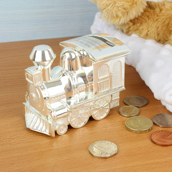 Personalised Engraved Silver Plated Train Babies Money Box