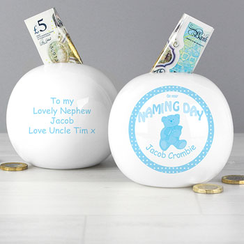 Boy's Personalised China Teddy Naming Day Money Box