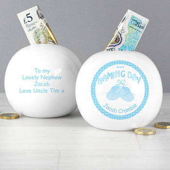 Boy's Personalised China Blue Booties Naming Day Money Box