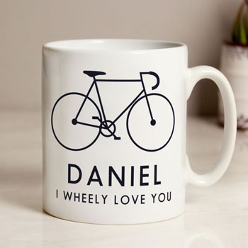 Personalised I Wheely Love You Male Bike Balmoral Mug