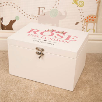 Personalised White Wooden Keepsake Box for Baby Girl
