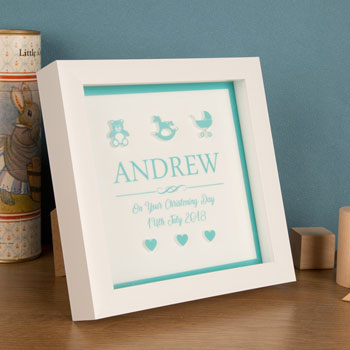 3D Personalised Box Frame for a Baby Boy