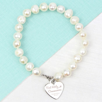 Girl's Personalised 1st Holy Communion White Pearl Bracelet