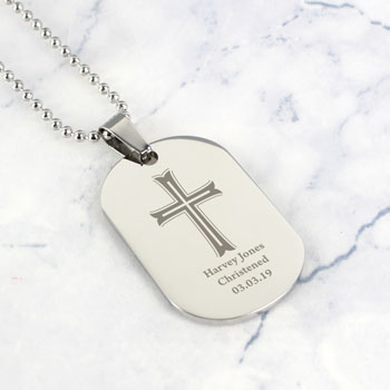 Personalised Stainless Steel Dog Tag Christening Necklace