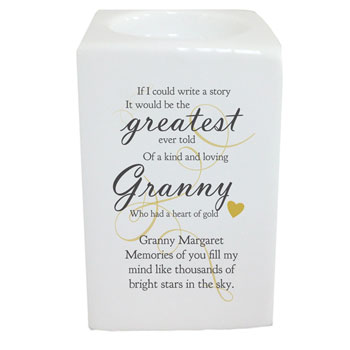 Memorial Greatest Story Personalised Square Tea Light Holder