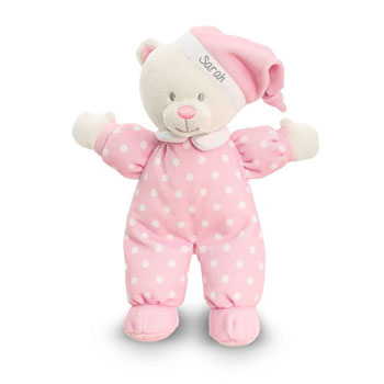 Personalised Baby Girl's Pink Goodnight Bear Baby Toy