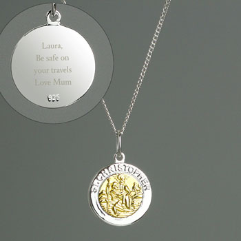 Personalised Silver & 9ct Gold Saint Christopher Necklace