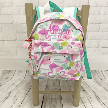 Personalised Girls Pink Flamingo Backpack School Nursery Bag