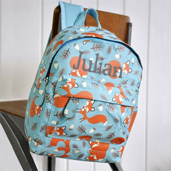 Children's Blue Personalised Fox Backpack School Nursery Bag